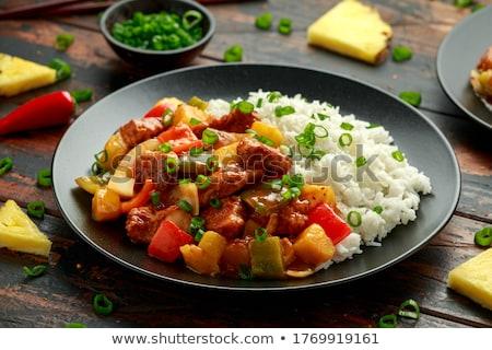 Csirkemell paprika rizs tyúk ebéd friss Stock fotó © M-studio