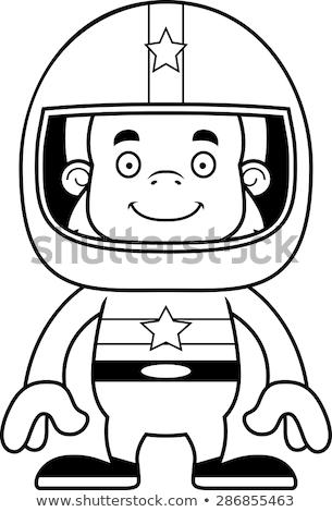 Cartoon Smiling Race Car Driver Sasquatch Stock photo © cthoman