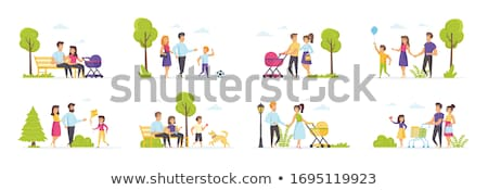 Couple in Love with Pram Family Park Set Vector Stock photo © robuart