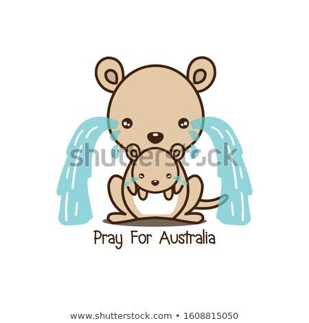 Cartoon triest kangoeroe illustratie baby dier Stockfoto © cthoman
