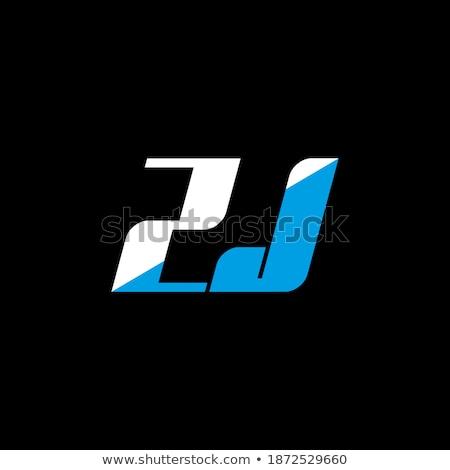 Fekete kék logo levél ikon logotípus Stock fotó © blaskorizov