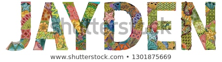 Stock photo: Male name Jayden. Vector decorative zentangle object