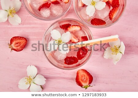 strawberry detox water with jasmine flower summer iced drink stock photo © illia