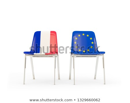 Two chairs with flags of France and european union Stock photo © MikhailMishchenko