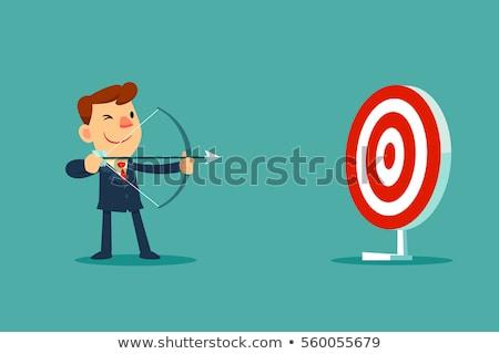 Arrow erreicht Ziel Vektor glücklich Geschäftsmann Stock foto © robuart