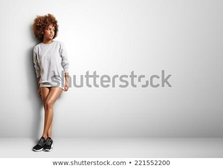 mulher · loira · belo · cabelo · sorridente · cinza - foto stock © studiolucky