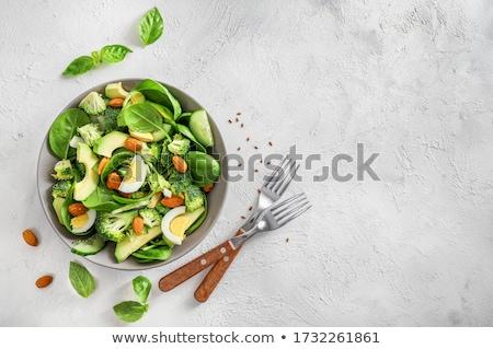 Casero huevos espinacas ensalada delicioso simple Foto stock © Peteer