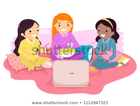 Stickman Teen Girls Watch Movie Laptop Sleepover Stock photo © lenm