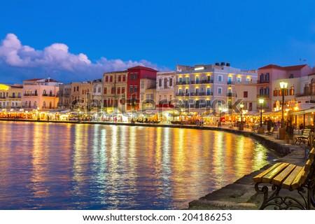 venetian habour of Chania, Crete, Greece Сток-фото © neirfy