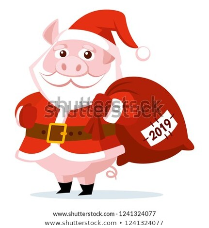 New Year Pigs in Santa Costume with Gifts Sack Сток-фото © robuart