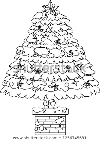 Luxuriously decorated Christmas tree with snow outline Stock photo © Blue_daemon