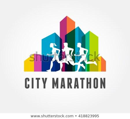 Running marathon in city, icon and symbol with ribbon, banner Stock photo © marish