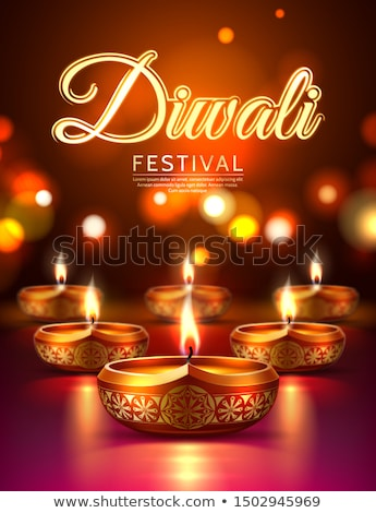 happy diwali beautiful background with realistic diya design stock photo © sarts