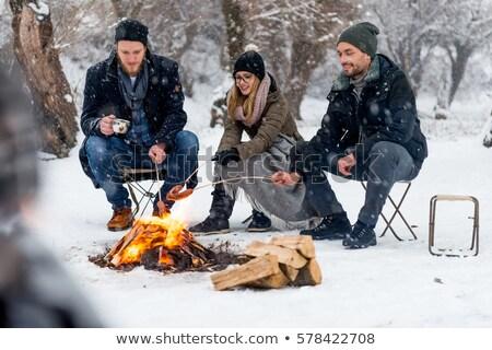 Camping outdoor activiteit lunch kampvuur reizen Stockfoto © robuart