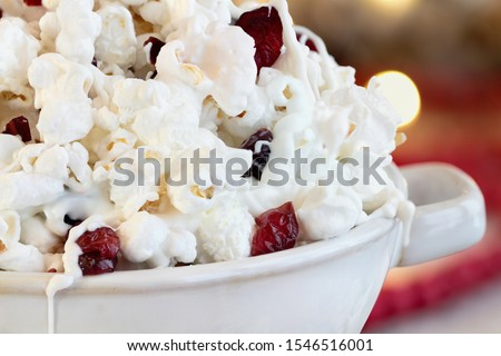Bowl of White Chocolate Popcorn and Cranberry Snack Stock photo © StephanieFrey