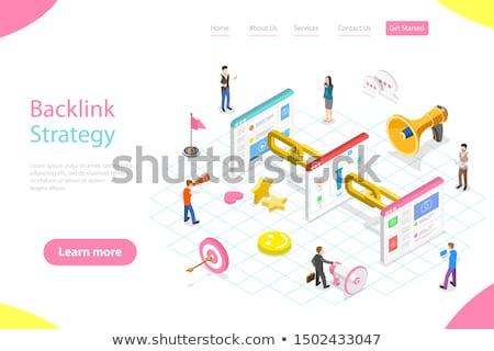 Link budynku banner online komunikacji Zdjęcia stock © RAStudio