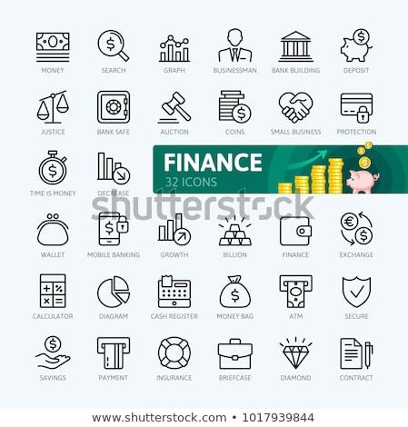 Geld contract controleren icon vector schets Stockfoto © pikepicture