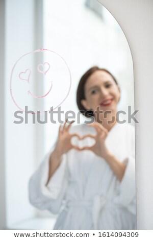 好色な 顔 笑顔 目 反射 若い女性 ストックフォト © pressmaster