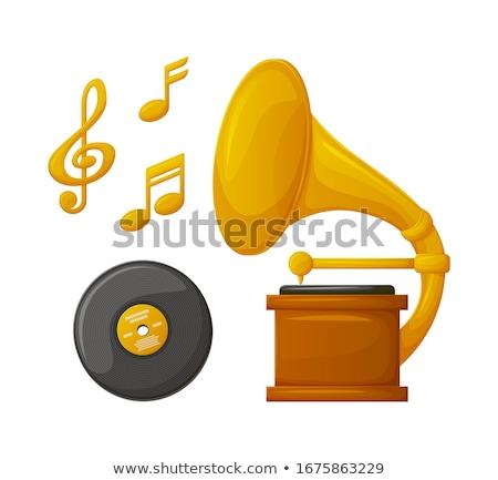 Gramofone prato dourado música vetor Foto stock © robuart