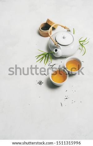 Japán tea evőpálcikák kő asztal ázsiai konyha Stock fotó © karandaev