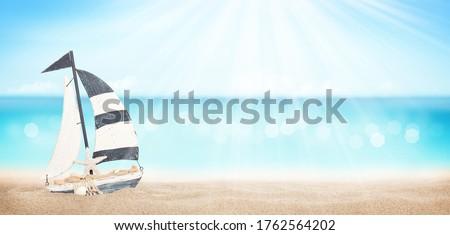 Nyár trópusi tenger pezsgő hullámok vitorlás hajó Stock fotó © karandaev