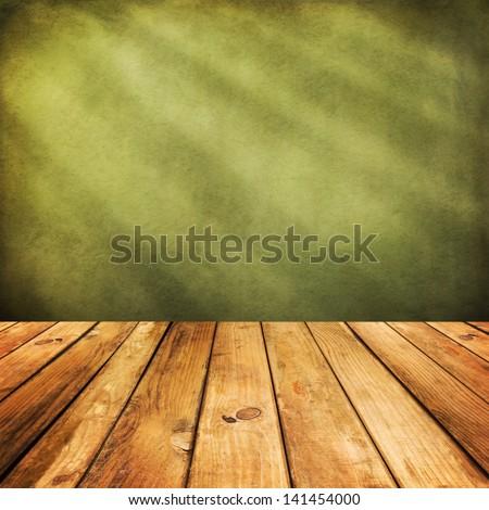 Mesa de madeira montagem exibir produtos folhas verdes Foto stock © artjazz
