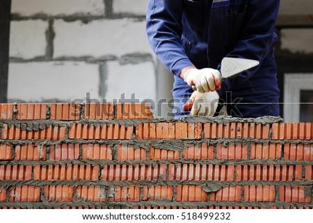 Murarz budynku domu ściany przemysłu pracownika Zdjęcia stock © photography33