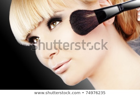body care series   young beautiful woman with make up brush stock photo © candyboxphoto