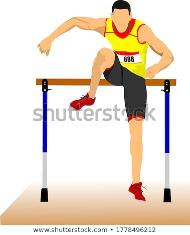 Man running hurdles. Vector illustartion Stock photo © leonido