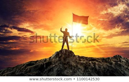 высокий горные флагами итальянский флаг европейский Союза Сток-фото © rmarinello