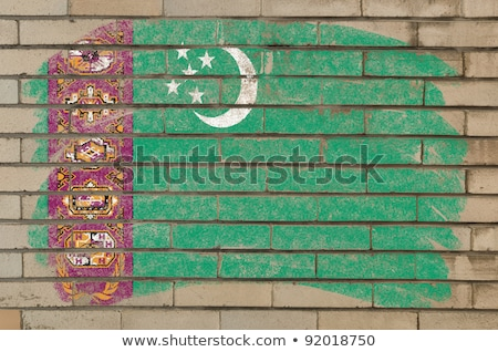 Flag Of Turkmenistan On Grunge Brick Wall Painted With Chalk Foto stock © vepar5