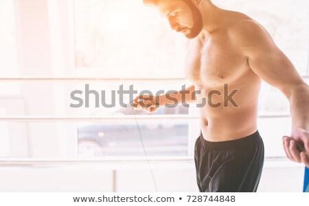 Portre gömleksiz genç boksör şort beyaz Stok fotoğraf © wavebreak_media
