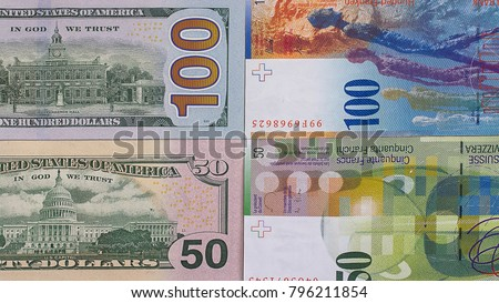Stock photo: Swiss Currency Bank Notes (Swiss Francs). Pile of 100 CHF