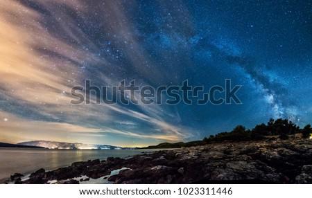 Gece gökyüzü Hırvatistan uzun pozlama fotoğraf Yıldız gece Stok fotoğraf © Hochwander