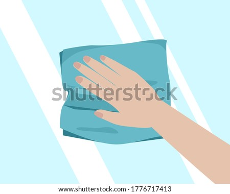 Hand with cleaning cloth Stock photo © Taigi