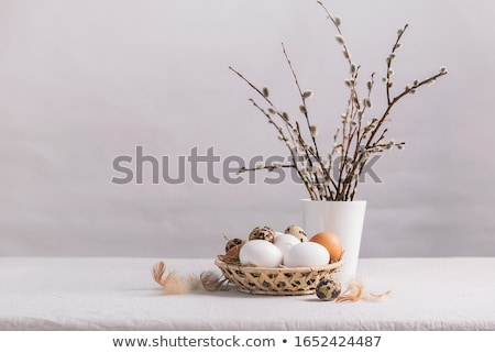 Easter Eggs on linen fabric Stock photo © ssuaphoto