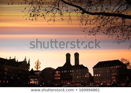 tornyok · München · éjszaka · kettő · torony · katedrális - stock fotó © faabi