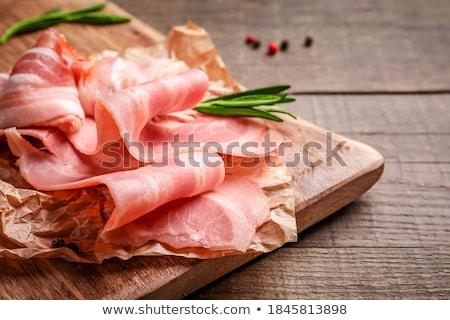 taze · domuz · pastırması · şeritler · plastik · paketleme · siyah - stok fotoğraf © AEyZRiO