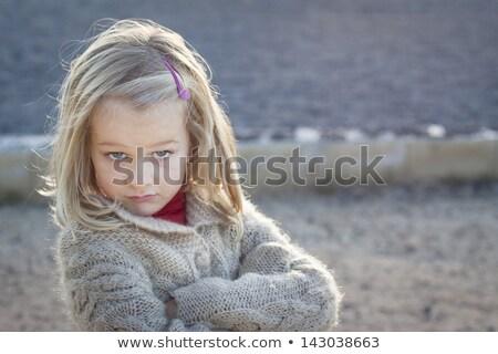ストックフォト: 厳しい · 少女 · 小さな · ブロンド · 十代の少女 · ジーンズ