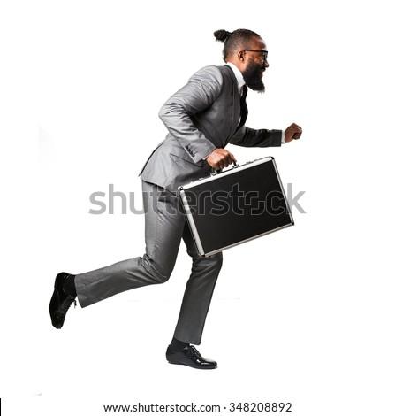 афроамериканец · бизнесмен · изолированный · белый · портфель - Сток-фото © dgilder