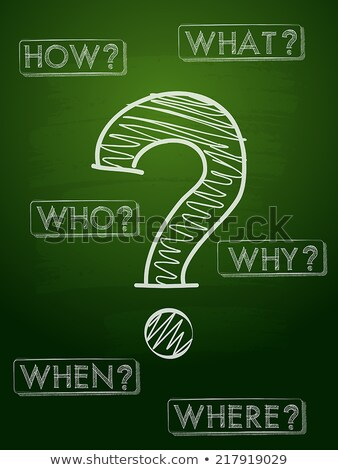 question sign and question words over green blackboard stock photo © marinini