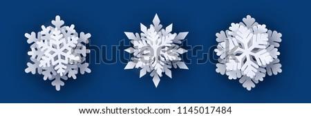 Stock fotó: Szett · hópelyhek · hó · sziluett · fehér · karácsony