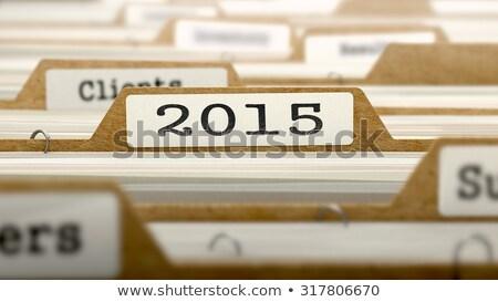 2015 palavra dobrador cartão foco feliz Foto stock © tashatuvango