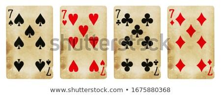 Sete diamantes jogar cartão branco vermelho Foto stock © Bigalbaloo