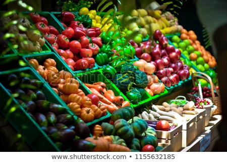 Green and red vegetables for sale Stock photo © elxeneize