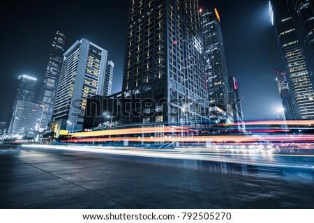 trafic · Night · City · blanc · noir · ciel · résumé · lumière - photo stock © elwynn