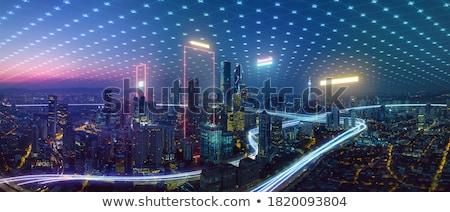 Resumen polígono patrón brillante azul textura Foto stock © ptichka