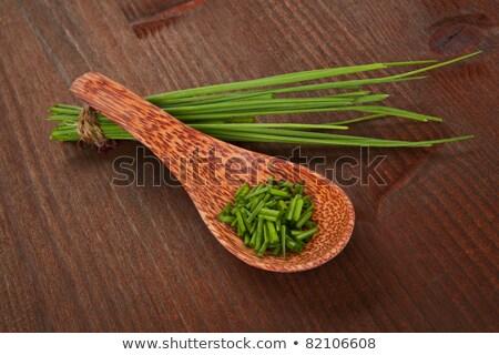 Tritato erba cipollina cucchiaio metal alimentare erbe Foto d'archivio © Digifoodstock