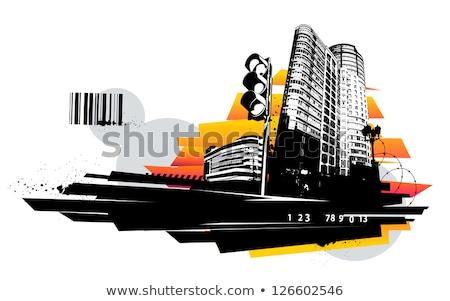 New · York · City · linha · do · horizonte · cor · ilustração · estátua · liberdade - foto stock © beholdereye