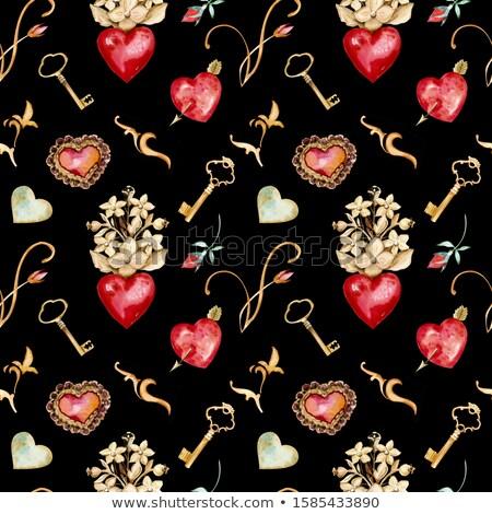 Valentine's rubin hearts (seamless pattern) Stock photo © Glasaigh